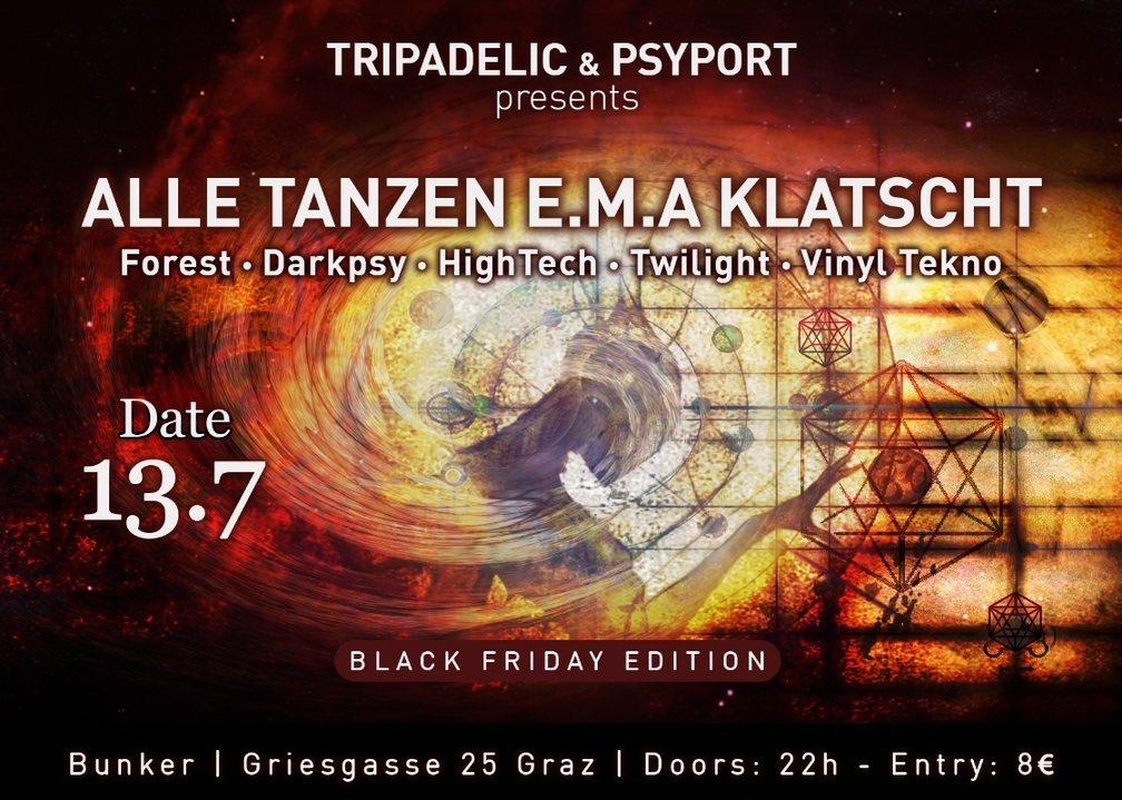 Party Flyer ALLE Tanzen EMA Klatscht Black Friday Edition 13 Jul '18, 22:00