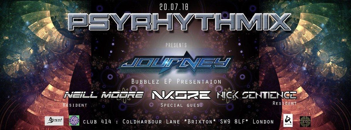 Party Flyer Psyrhythmix Pres. Journey (aka Jay Om): Bubblez EP Presentation 20 Jul '18, 23:00