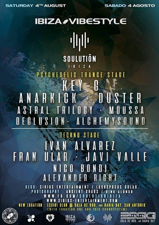 Party Flyer Ibiza Vibestyle & Soulution ibiza at New CLUB ESSiGi 4 Aug '18, 22:00