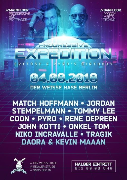 Party Flyer Progressive Expedition Fritöse und Pyro B-Day 4 Aug '18, 23:00