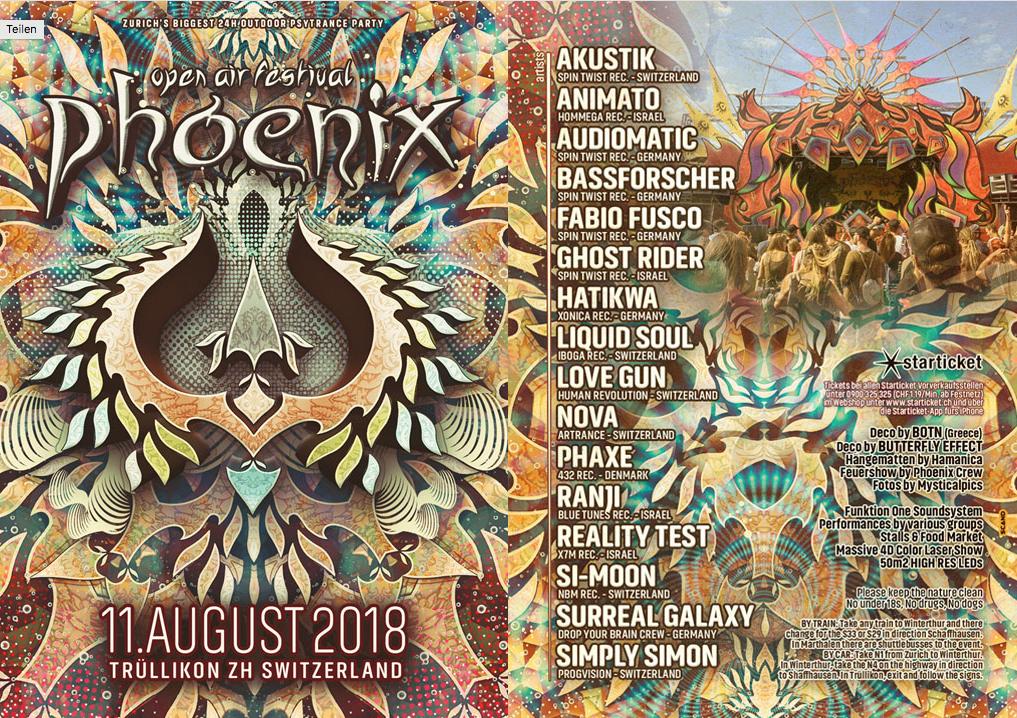 Party Flyer Phoenix Festival 2018 · 11. Aug 2018 · Zürich / Trüllikon (Schweiz) 11 Aug '18, 12:00