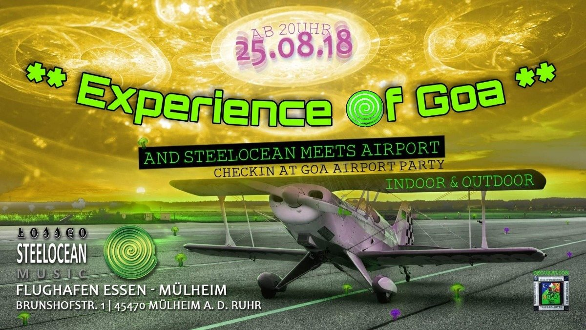 """Party Flyer Experience of Goa & Steelocean meets """" Airport """" 25 Aug '18, 20:00"""