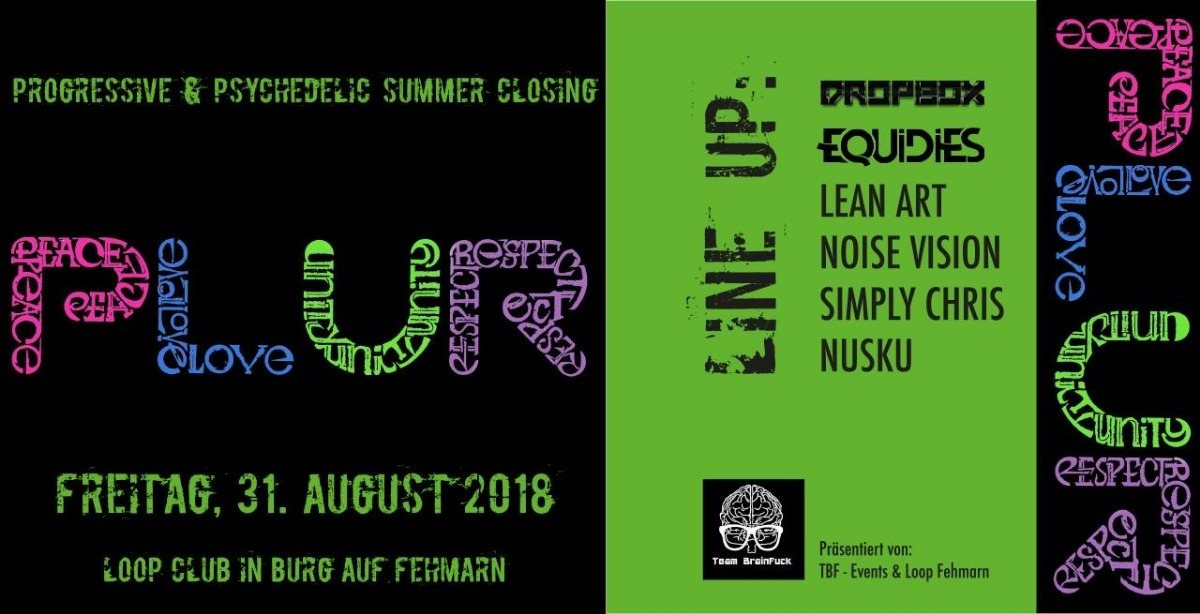 Party Flyer PLUR - Progressive & Psychedelic 31 Aug '18, 22:00