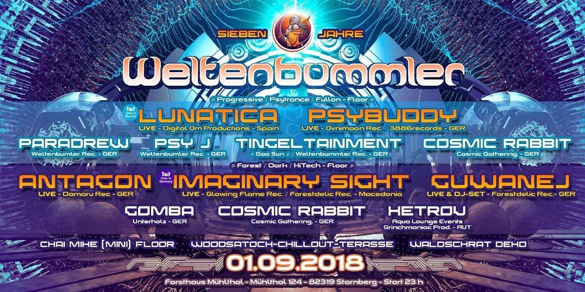 Party Flyer 7 Jahre Weltenbummler 1 Sep '18, 23:00