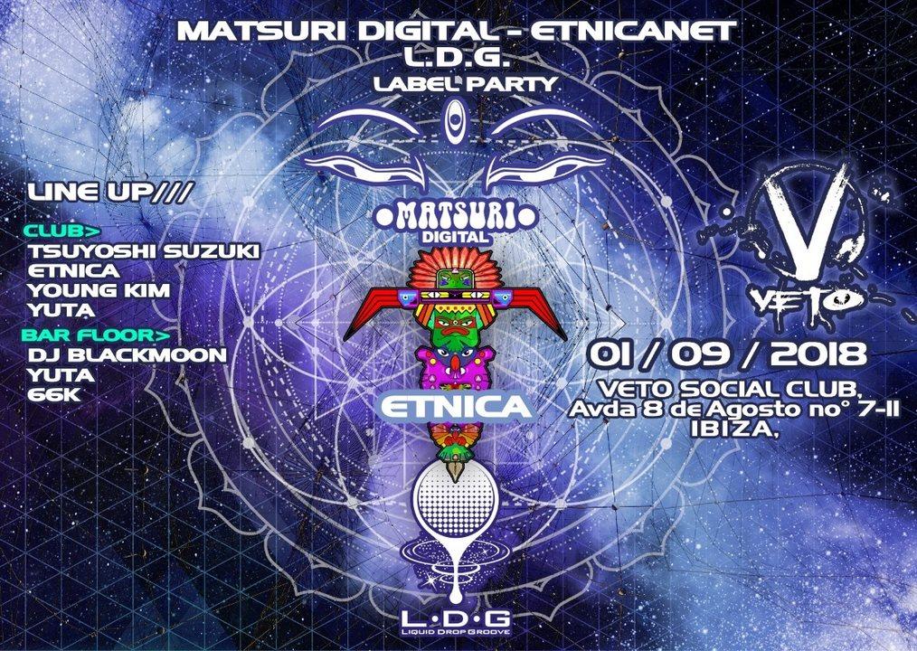 Party Flyer MATSURI DIGITAL/ETNICANET/LDG-LABEL PARTY(VETO SOCIAL CLUB IBIZA) 1 Sep '18, 22:00
