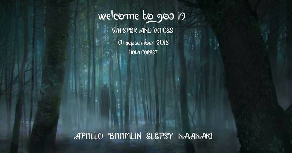 Party Flyer Welcome to Goa 19 • Whispers And Voices 1 Sep '18, 21:00