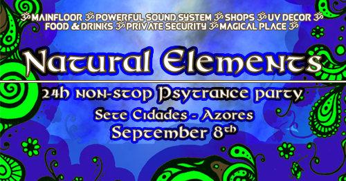 Party Flyer Natural Elements- 24h non-stop Psytrance party 8 Sep '18, 20:00