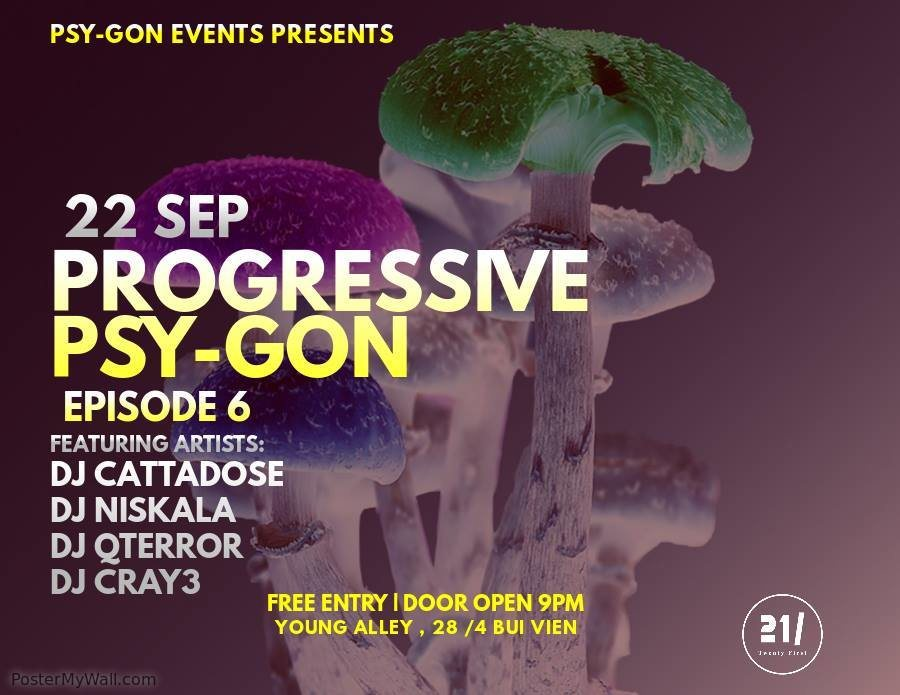 Party Flyer Progressive Psy-Gon Episode 6....Farewell to Cattadose 22 Sep '18, 21:00