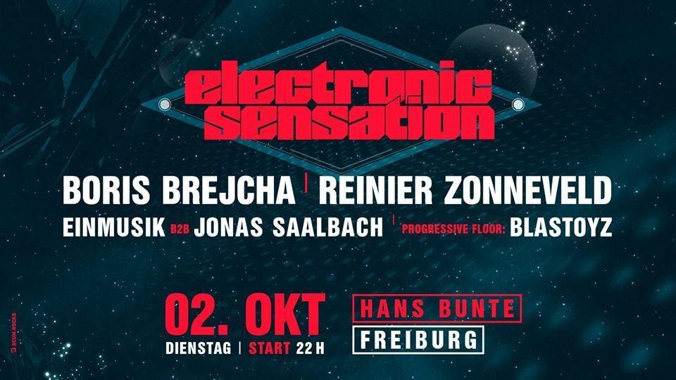 Party Flyer electronic sensation w/ BORIS BREJCHA, BLASTOYZ, REINIER ZONNEVELD, EINMUSIK,... 2 Oct '18, 22:00