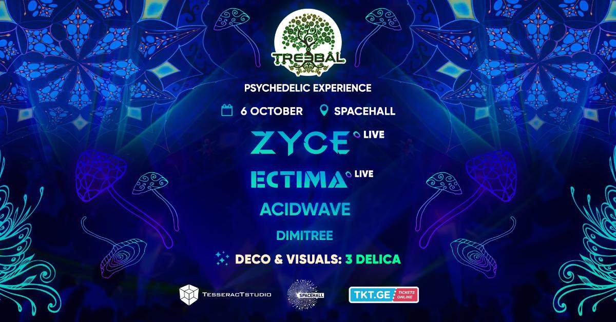 Party Flyer TREEBAL: ZYCE • ECTIMA • ACIDWAVE • DIMITREE at SPACEHALL 6 Oct '18, 23:00
