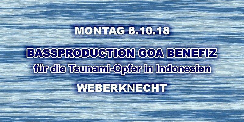 Party Flyer Bassproduction GOA Benefiz 8 Oct '18, 22:00