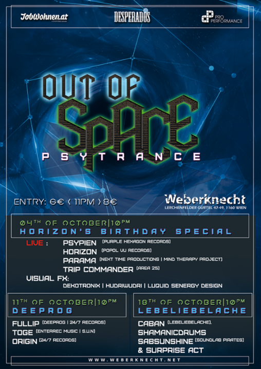 Party Flyer OUT of SPACE - Deeprog Special 11 Oct '18, 22:00