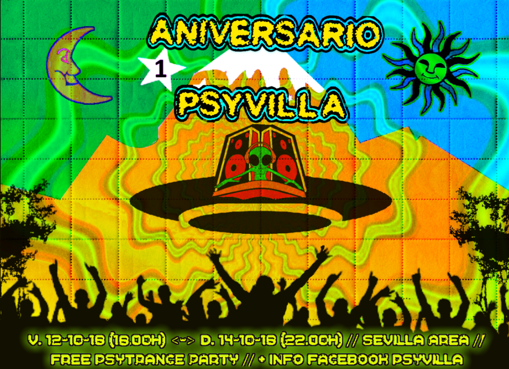 Party Flyer 1º ANIVERSARIO PSYVILLA 12 Oct '18, 18:00