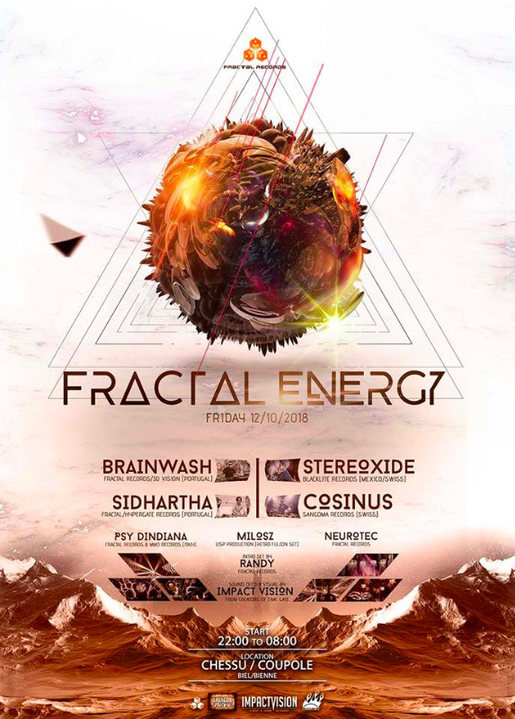 Party Flyer FRACTAL ENERGY *** Into the Dome *** 12 Oct '18, 22:00