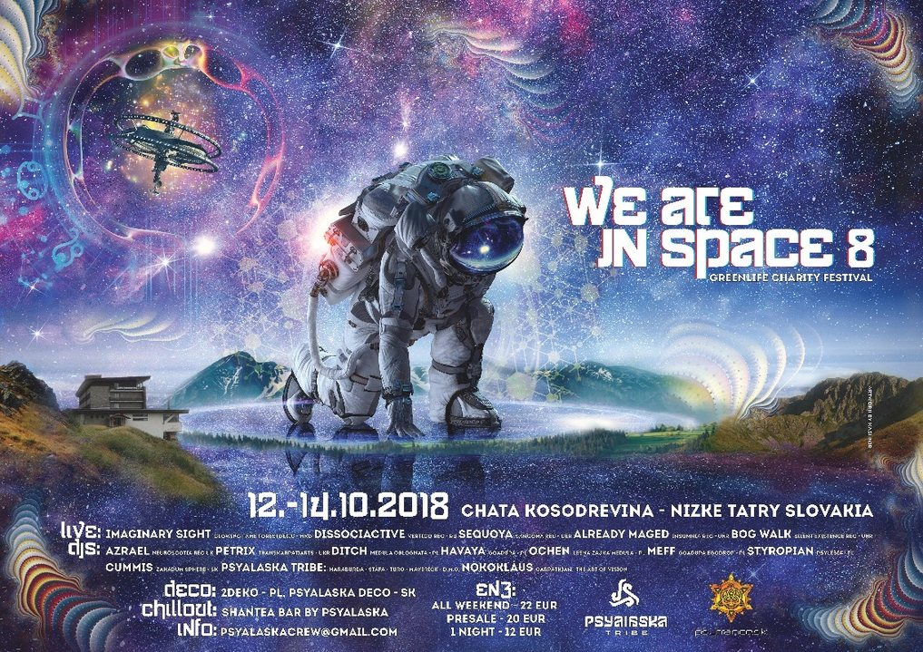 Party Flyer WE ARE IN SPACE 8 charity festival 12 Oct '18, 22:00