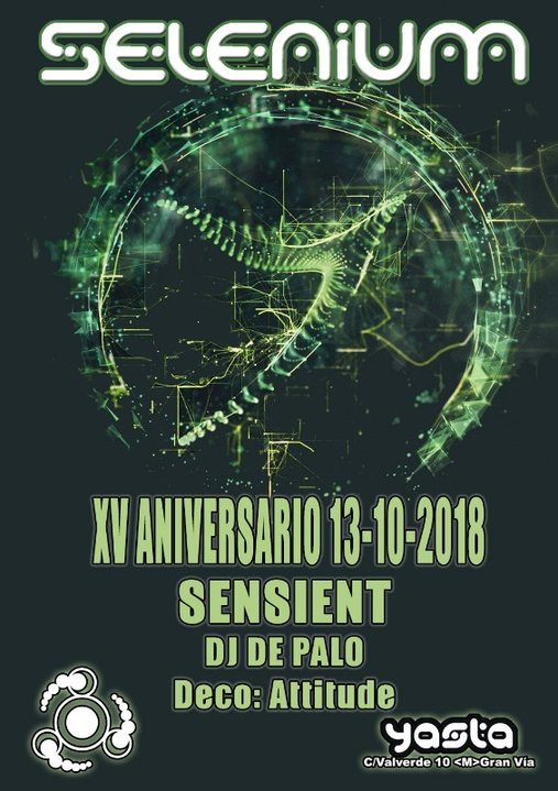 Party Flyer SELENIUM - XV ANNIVERSARY - SENSIENT 13 Oct '18, 23:30