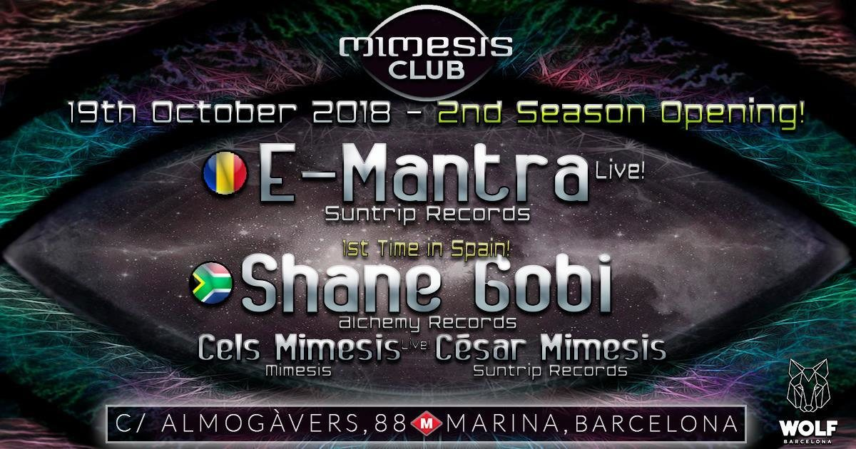Party Flyer Mimesis CLUB Season Opening 19 Oct '18, 23:30