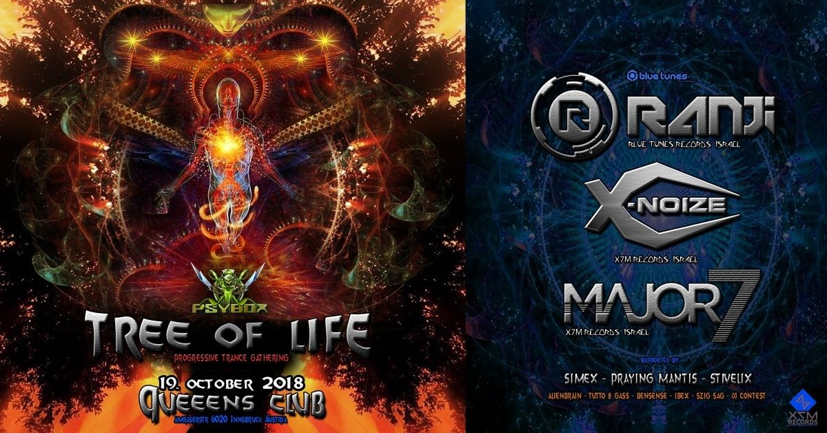 Party Flyer Psybox - Tree of Life with Ranji / Major7 / X-Noize 19 Oct '18, 22:00