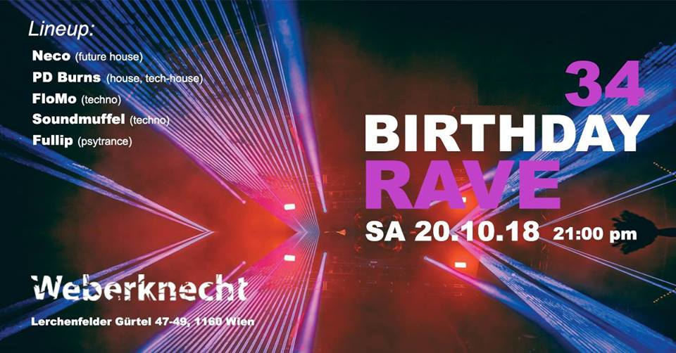 Party Flyer Birthday Rave 20 Oct '18, 21:00