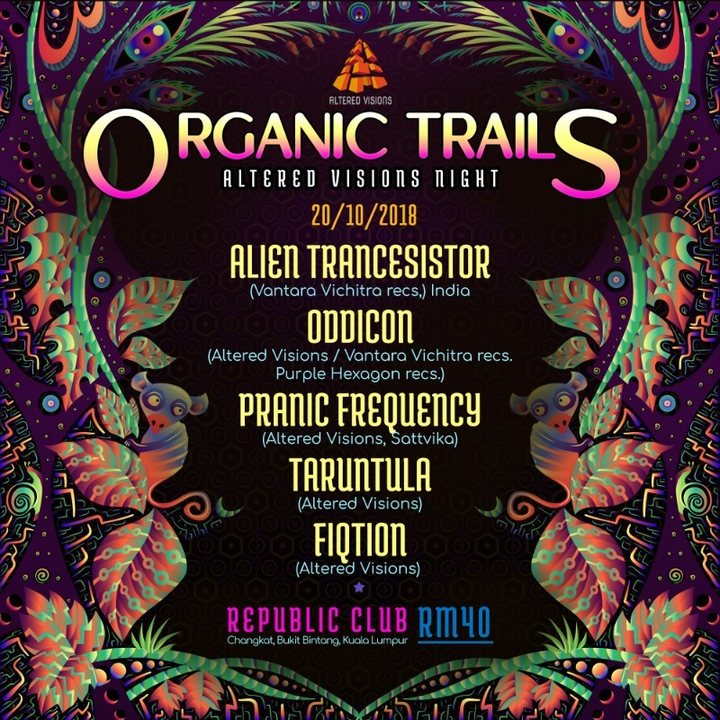 Party Flyer Organic Trails - Altered Vision night 20 Oct '18, 22:00