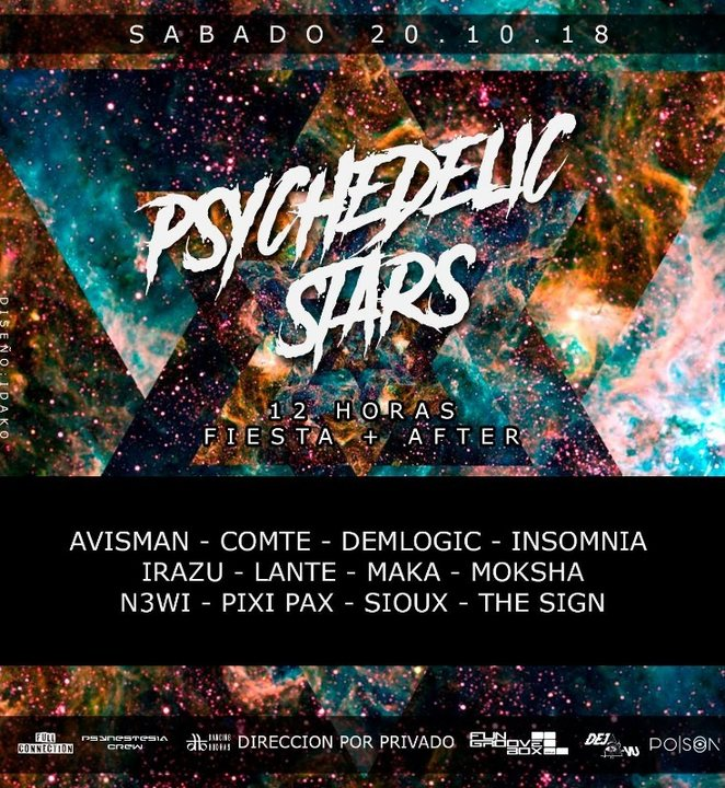 Party Flyer Psychedelic Stars 20 Oct '18, 23:30