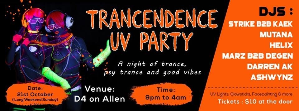 Party Flyer TRANCENDENCE UV PARTY 21 Oct '18, 21:00
