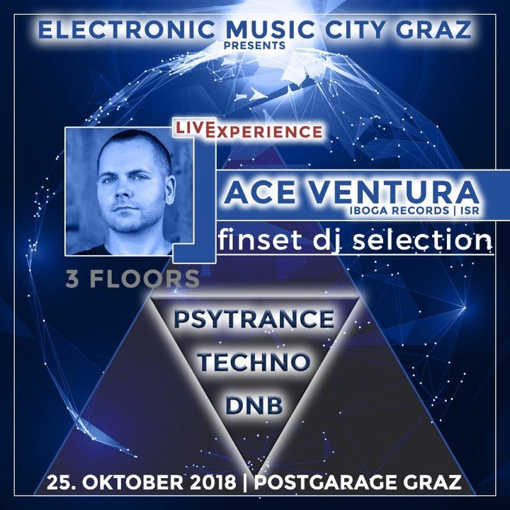 Party Flyer Electronic Music City on 3 Floors with Ace Ventura extended 25 Oct '18, 22:00