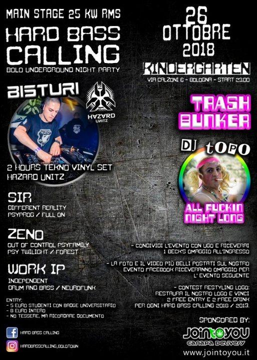 Party Flyer Hard Bass Calling 7 - Bisturi HZD + Dj Topo Trash 26 Oct '18, 23:00