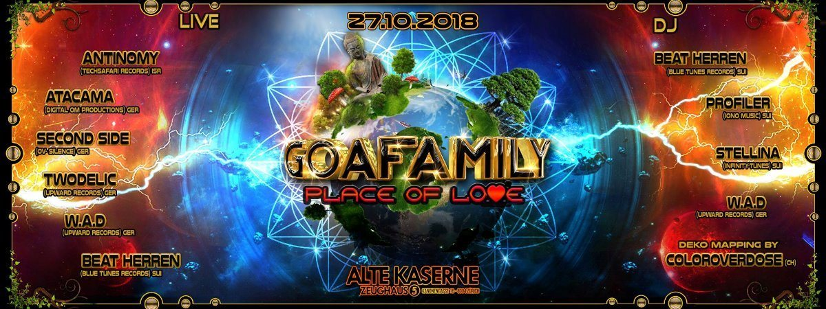 Party Flyer **GOAFAMILY - Place of Love** 27 Oct '18, 22:30