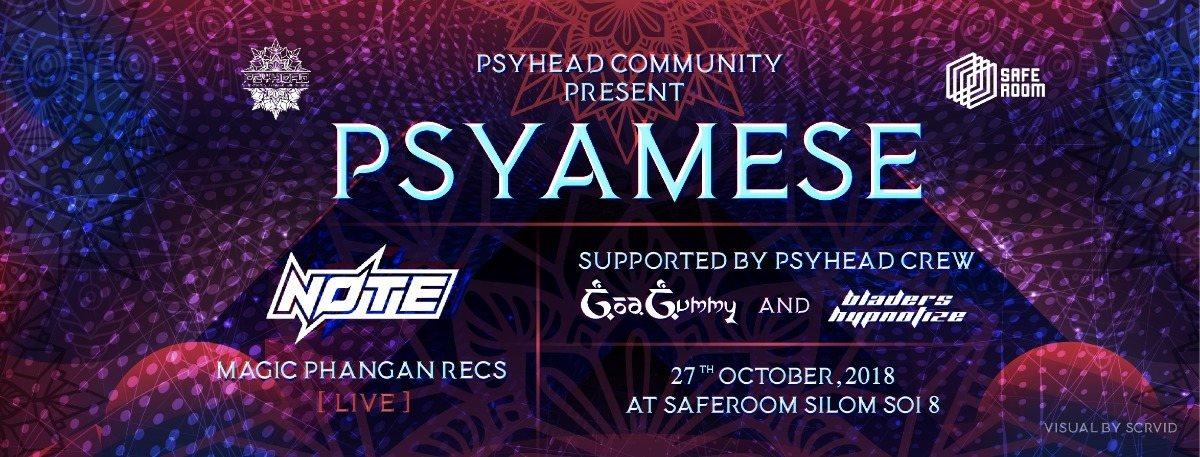 """Party Flyer Psyhead Community present """"PSYAMESE"""" 27 Oct '18, 21:00"""