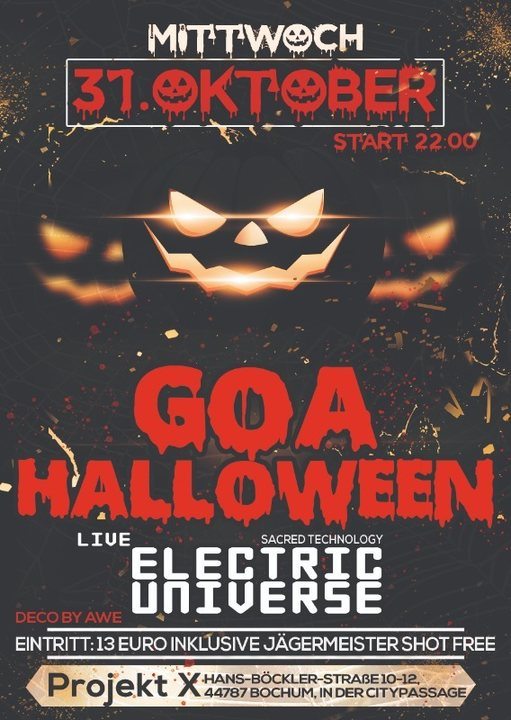 Party Flyer Goa Halloween / The Tribe / Electric Universe Live ! 31 Oct '18, 21:00