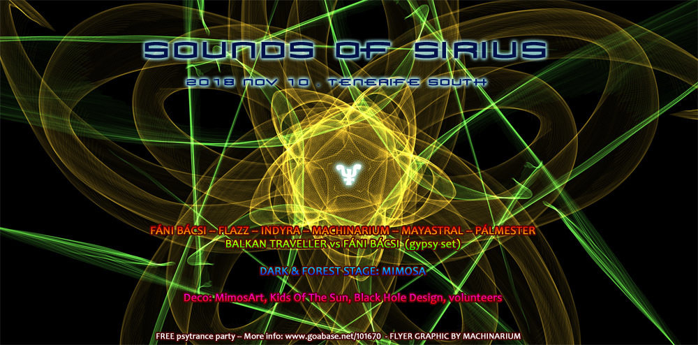 Party Flyer Sounds Of Sirius 10 Nov '18, 18:00