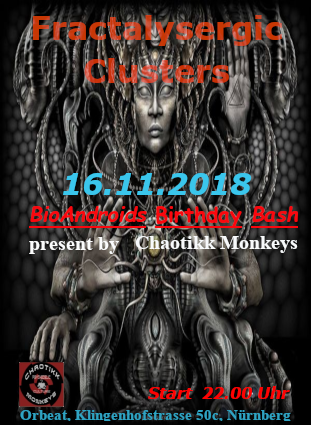 Party Flyer Dark-e-Delic Alchemists: Fractalysergic Clusters 16 Nov '18, 22:00
