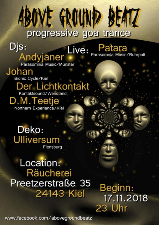 """Party Flyer AboveGroundBeatz 5 """"Patara Live"""" 17 Nov '18, 23:00"""