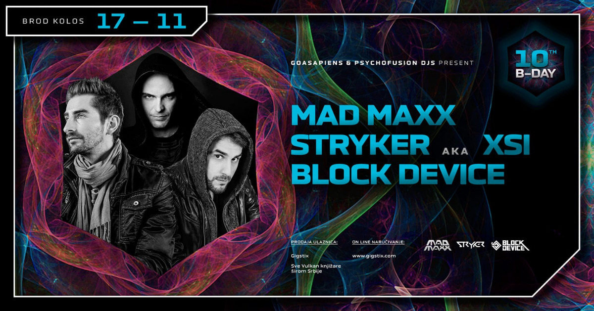 Party Flyer MAD MAXX / STRYKER / BLOCK DEVICE / @ KOLOS 17 Nov '18, 23:00