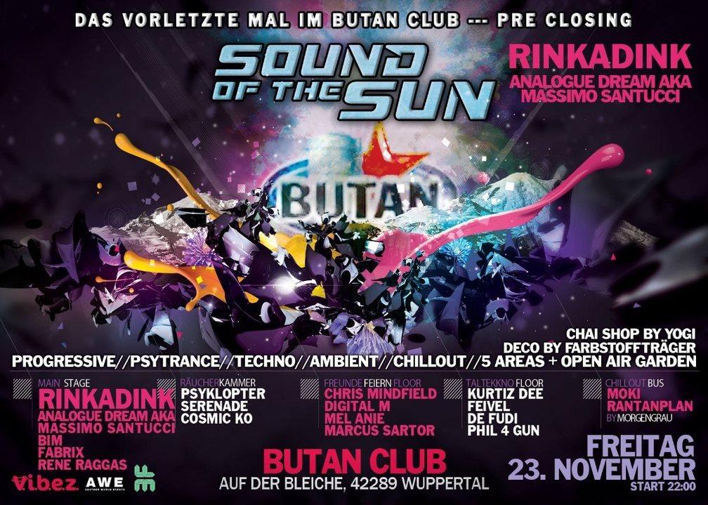 Party Flyer 23 Sound of the Sun / das vorletzte mal im Butan / Rinkadink uvm 23 Nov '18, 22:00