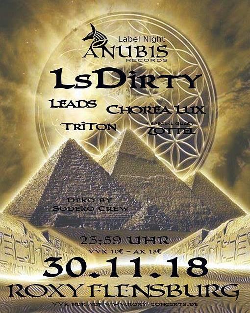 Party Flyer Anubis Rec. Label Night 30 Nov '18, 23:30