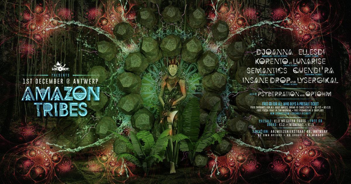 Party Flyer AMAZON TRIBES with Djoanna / ElleSDi / Korento / ... 1 Dec '18, 23:00