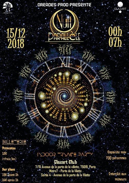 Party Flyer NUIT Parallele Paris Glazart 15 Dec '18, 23:30