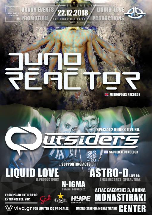 Party Flyer LIQUID LOVE & UEP presents Juno Reactor & Outsiders in Athens 22 Dec '18, 22:00