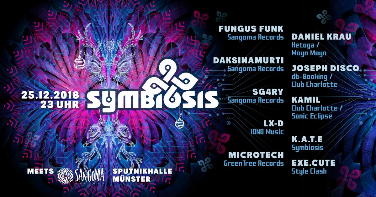 Party Flyer Symbiosis meets Sangoma Records 25 Dec '18, 23:00