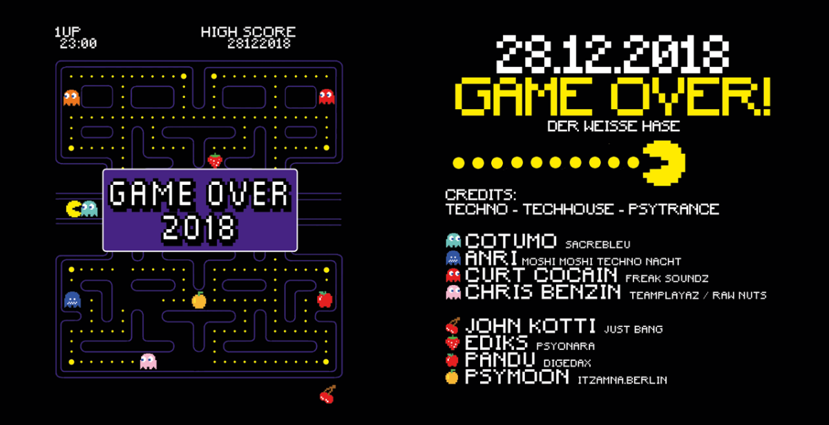 Party Flyer Game Over 2018 w/ Cotumo, John Kotti, and more! 28 Dec '18, 23:00