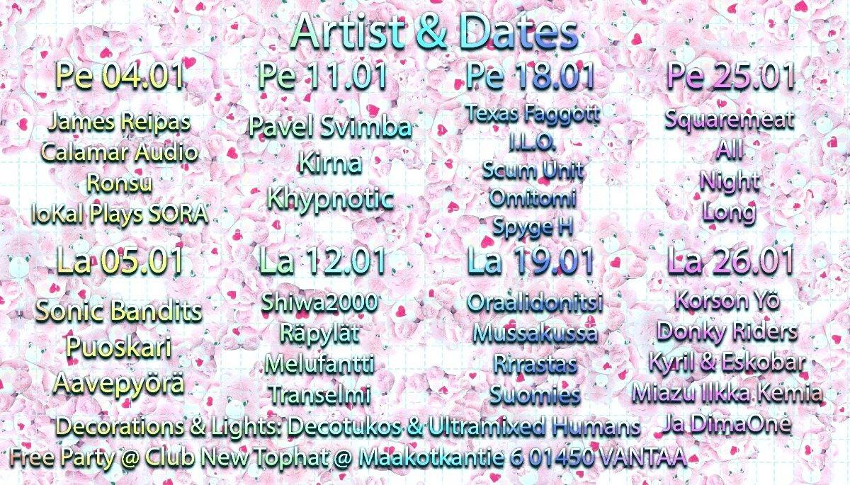 Party Flyer SuperSuomiSaundi Club Tipaton Tammikuu Free Party 4 Jan '19, 20:00