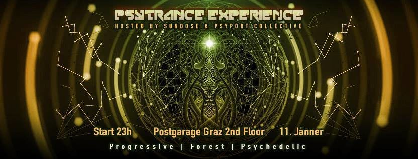 Party Flyer Psytrance Experience hosted by Sundose & PsyPort Collective 11 Jan '19, 23:00