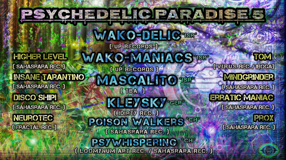 Party Flyer Psychedelic Paradise 5 12 Jan '19, 22:00