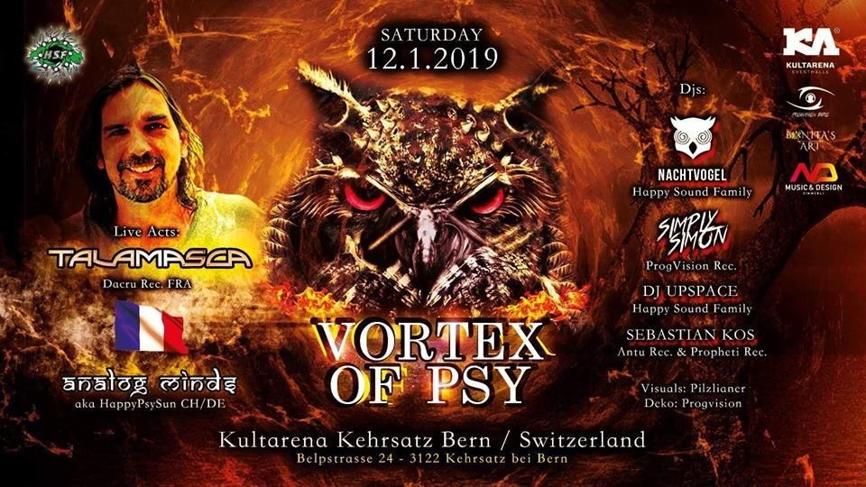Party Flyer Vortex of PSY / w TALAMASCA & ANALOG MINDS (BERN) 12 Jan '19, 21:00
