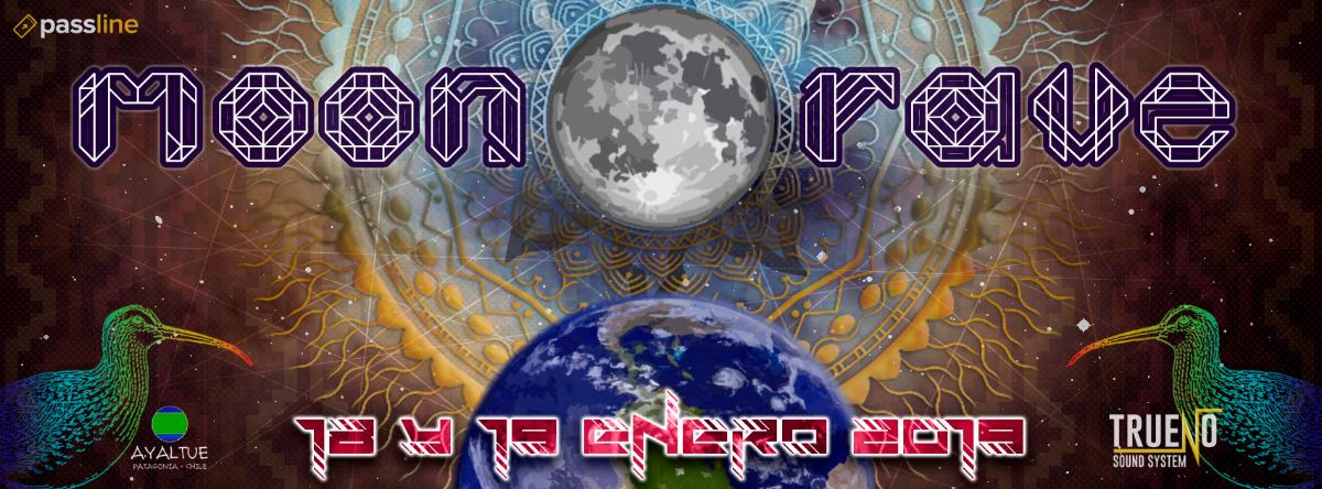 Party Flyer MOON RAVE ★ El Regreso Del Zarapito ★ OpenAir ★ X Región Chile 18 Jan '19, 15:00
