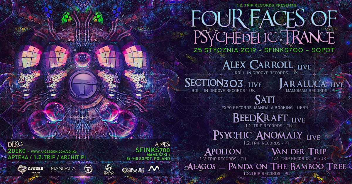 Party Flyer Four Faces Of Psychedelic Trance 25 Jan '19, 22:00