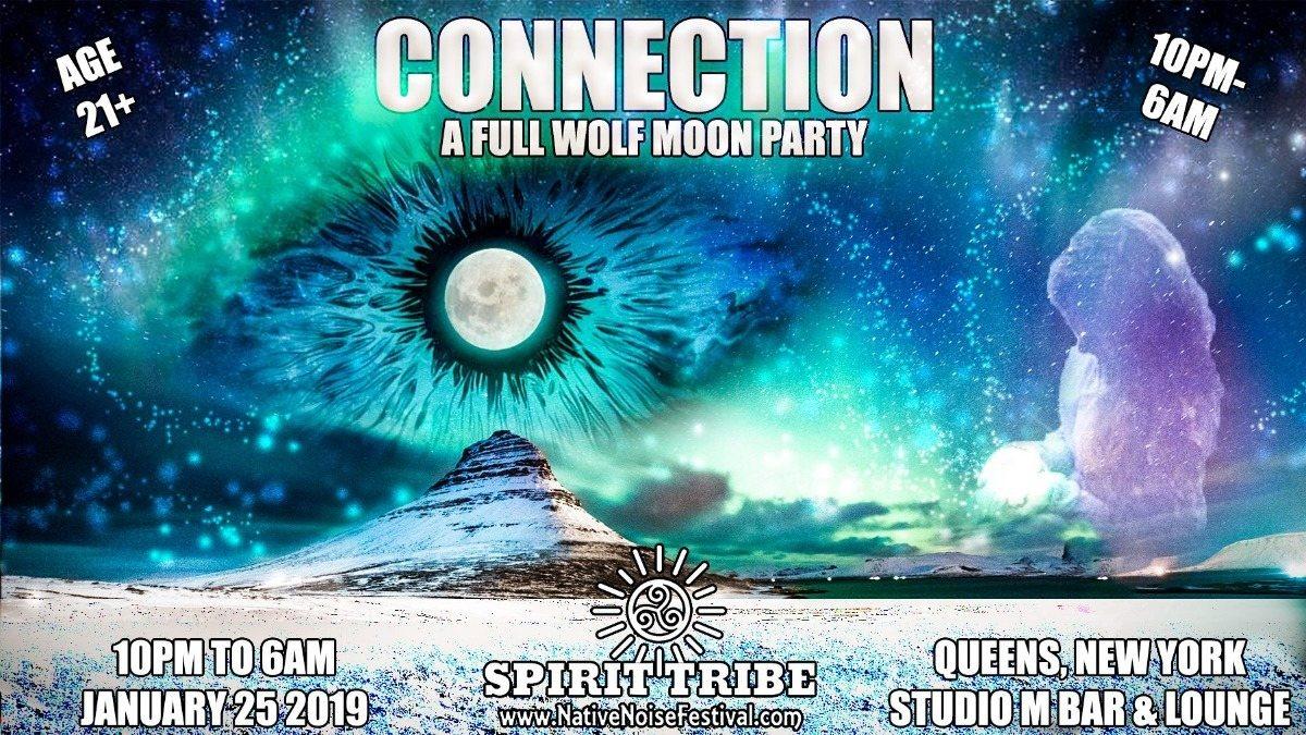 Party Flyer Spirit Tribe & Bom Shanka present: Connection ☆ Full Moon Party 25 Jan '19, 22:00