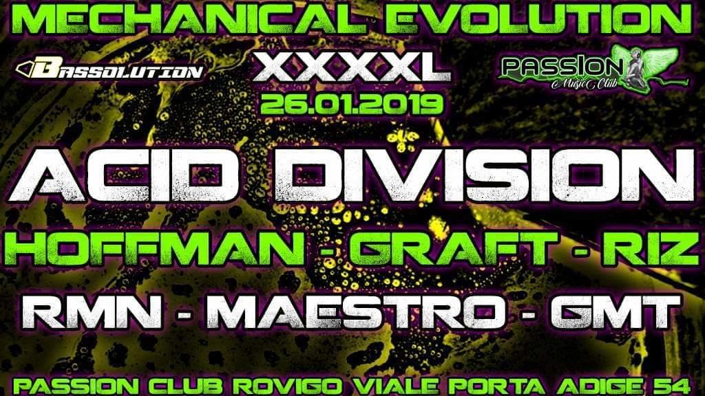 Party Flyer Mechanical Evolution XXXXL Feat. Acid Division Obs Cur 26 Jan '19, 23:00